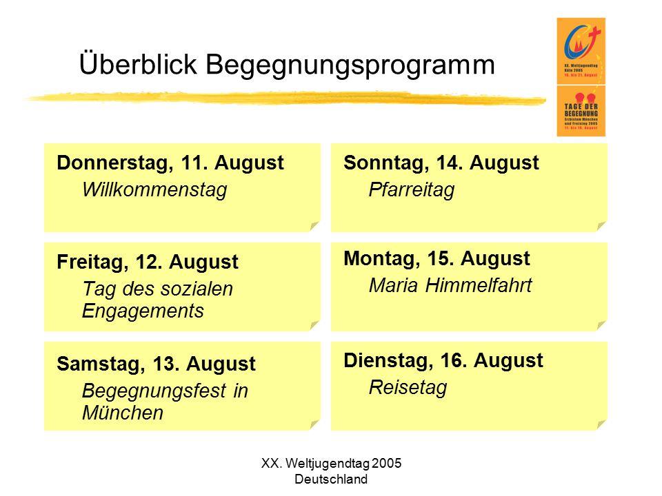 XX. Weltjugendtag 2005 Deutschland Überblick Begegnungsprogramm Donnerstag, 11. August Willkommenstag Freitag, 12. August Tag des sozialen Engagements