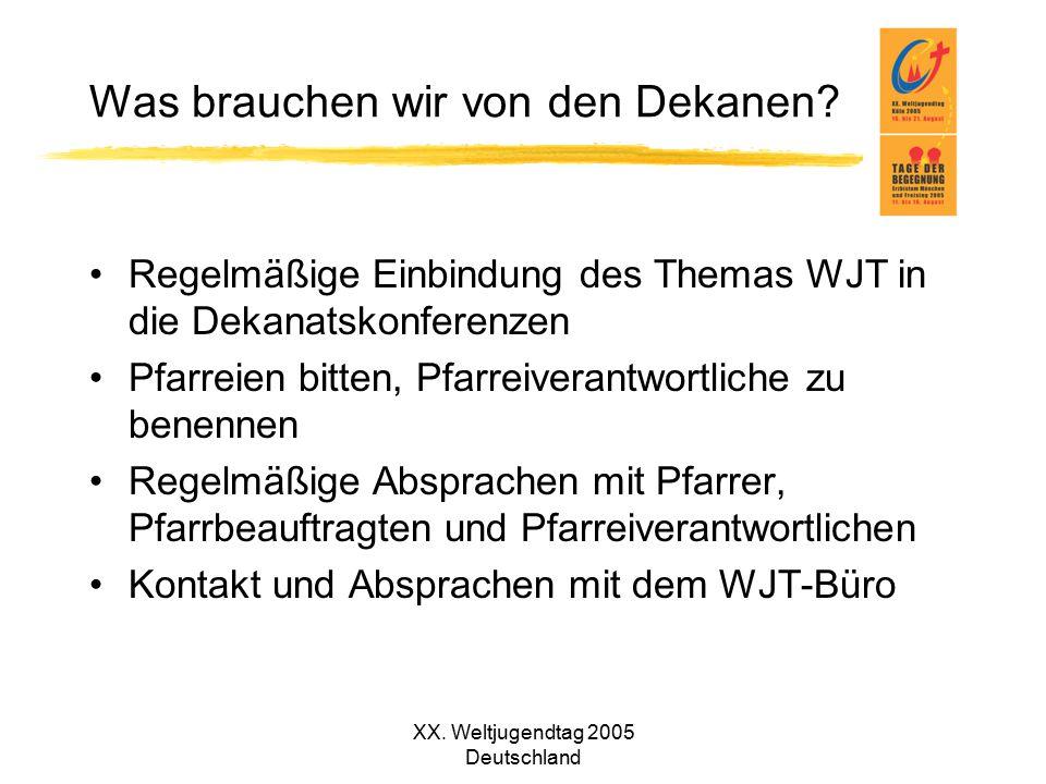 XX. Weltjugendtag 2005 Deutschland Was brauchen wir von den Dekanen? Regelmäßige Einbindung des Themas WJT in die Dekanatskonferenzen Pfarreien bitten