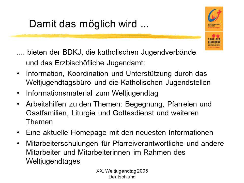 XX. Weltjugendtag 2005 Deutschland Damit das möglich wird....... bieten der BDKJ, die katholischen Jugendverbände und das Erzbischöfliche Jugendamt: I