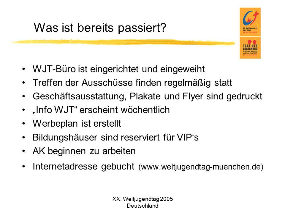 XX. Weltjugendtag 2005 Deutschland Was ist bereits passiert? WJT-Büro ist eingerichtet und eingeweiht Treffen der Ausschüsse finden regelmäßig statt G