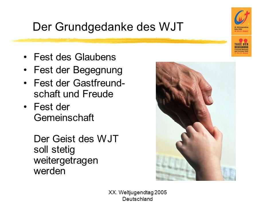 XX. Weltjugendtag 2005 Deutschland Der Grundgedanke des WJT Fest des Glaubens Fest der Begegnung Fest der Gastfreund- schaft und Freude Fest der Gemei