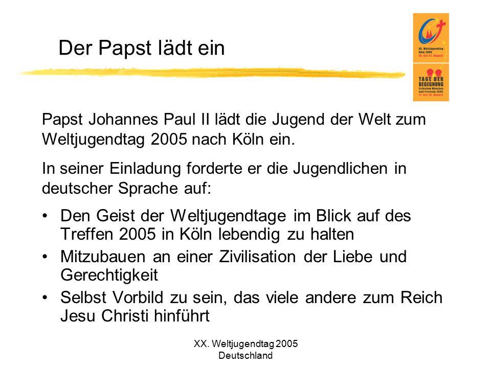 XX. Weltjugendtag 2005 Deutschland Der Papst lädt ein Papst Johannes Paul II lädt die Jugend der Welt zum Weltjugendtag 2005 nach Köln ein. In seiner