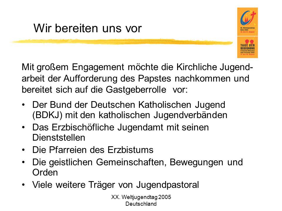 XX. Weltjugendtag 2005 Deutschland Wir bereiten uns vor Der Bund der Deutschen Katholischen Jugend (BDKJ) mit den katholischen Jugendverbänden Das Erz