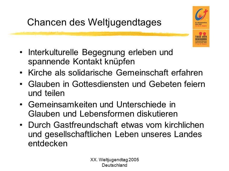 XX. Weltjugendtag 2005 Deutschland Chancen des Weltjugendtages Interkulturelle Begegnung erleben und spannende Kontakt knüpfen Kirche als solidarische