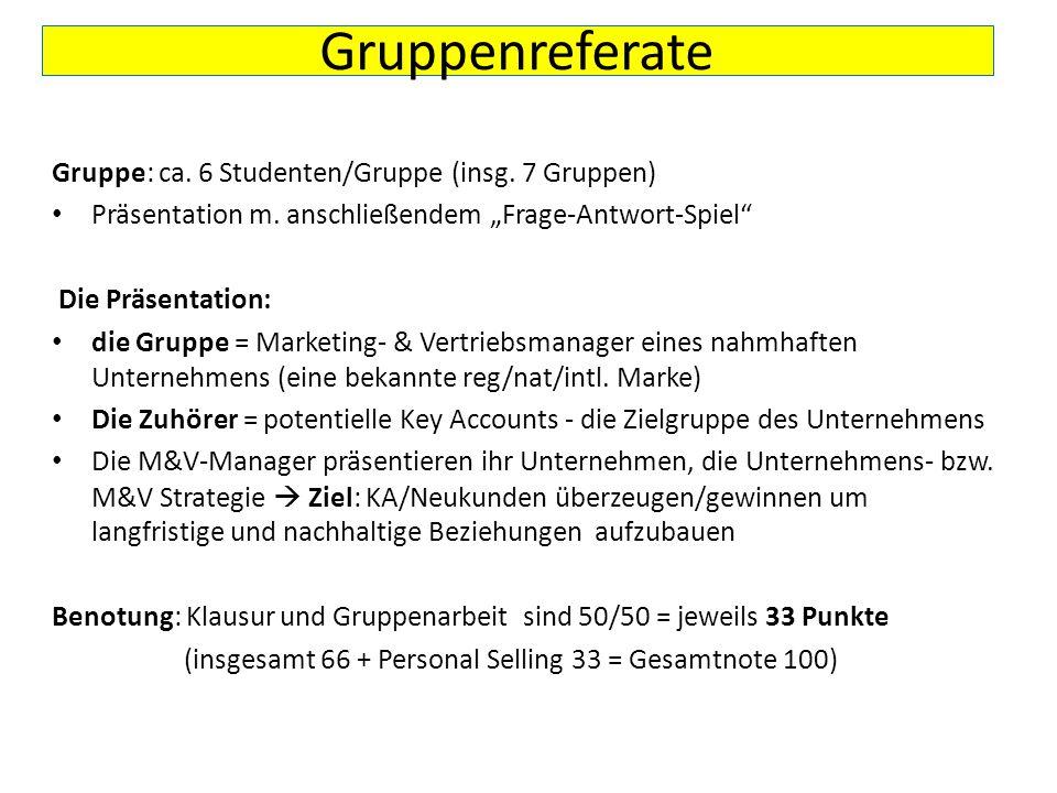 """Gruppenreferate Gruppe: ca. 6 Studenten/Gruppe (insg. 7 Gruppen) Präsentation m. anschließendem """"Frage-Antwort-Spiel"""" Die Präsentation: die Gruppe = M"""