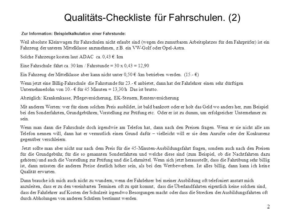 2 Qualitäts-Checkliste für Fahrschulen.
