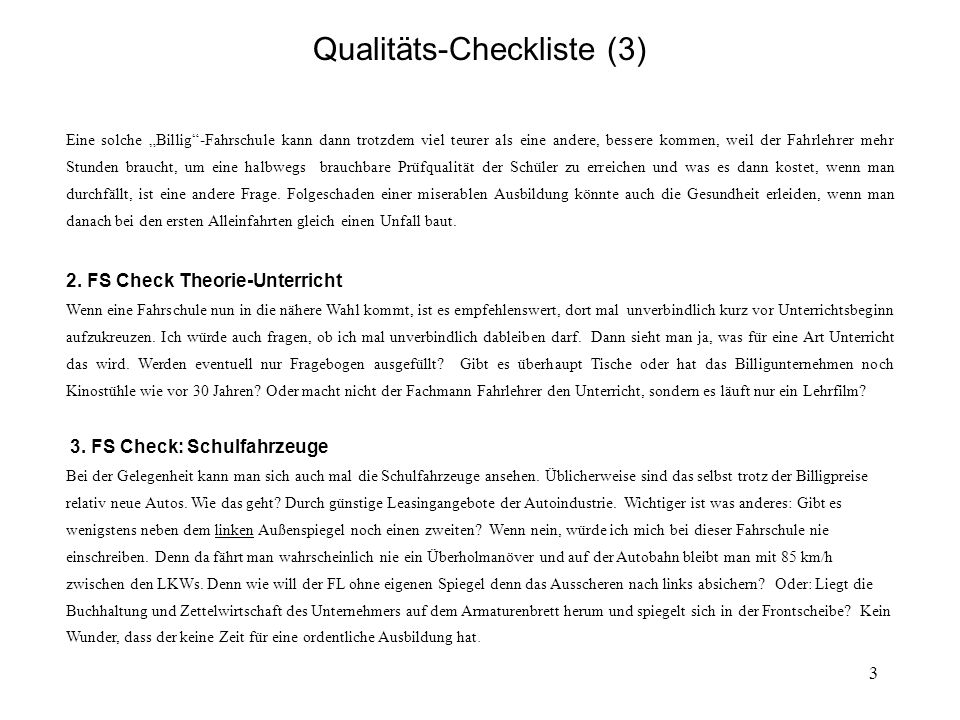 4 Qualitäts-Checkliste (4) 4.