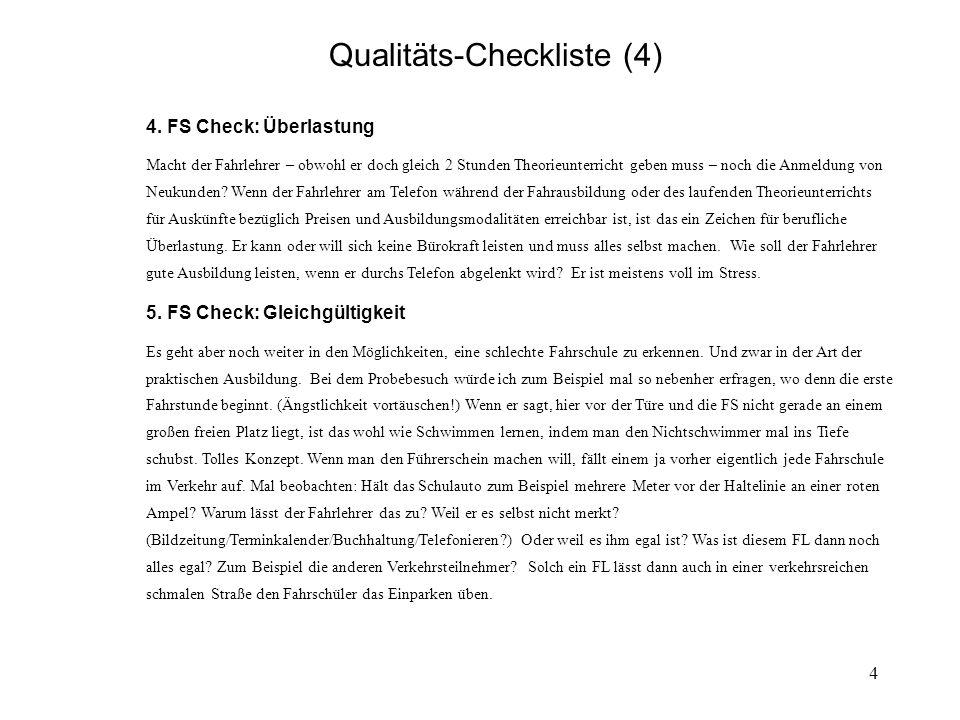 5 Qualitäts-Checkliste für Fahrschulen.(5) 6.