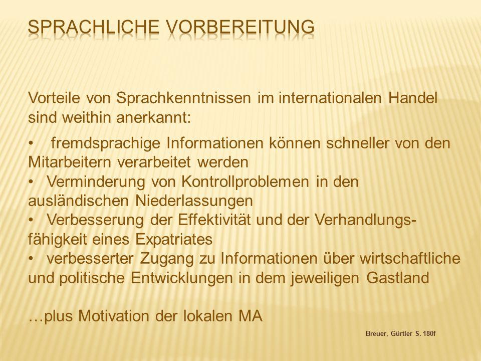 Breuer, Gürtler S. 180f Vorteile von Sprachkenntnissen im internationalen Handel sind weithin anerkannt: fremdsprachige Informationen können schneller