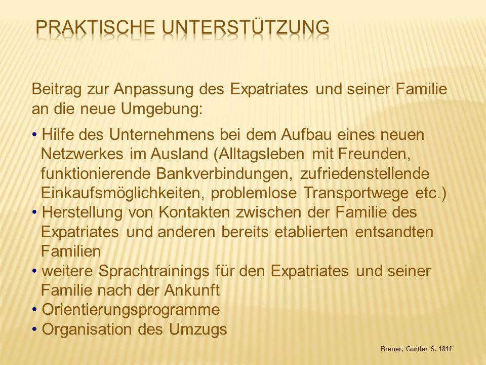 Breuer, Gürtler S. 181f Beitrag zur Anpassung des Expatriates und seiner Familie an die neue Umgebung: Hilfe des Unternehmens bei dem Aufbau eines neu