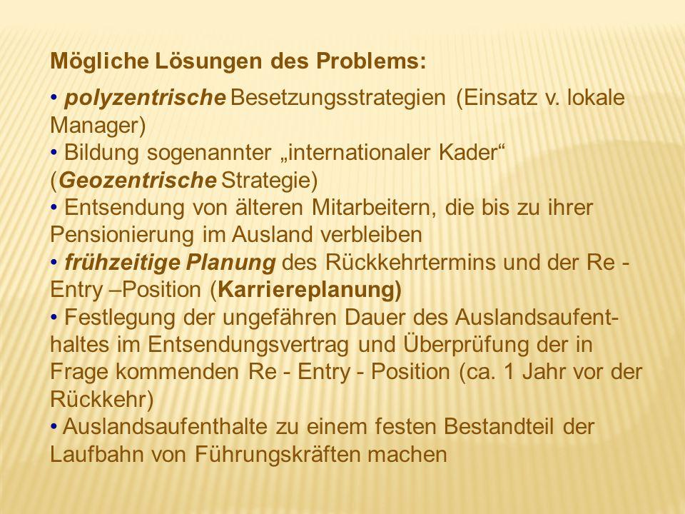 """Mögliche Lösungen des Problems: polyzentrische Besetzungsstrategien (Einsatz v. lokale Manager) Bildung sogenannter """"internationaler Kader"""" (Geozentri"""