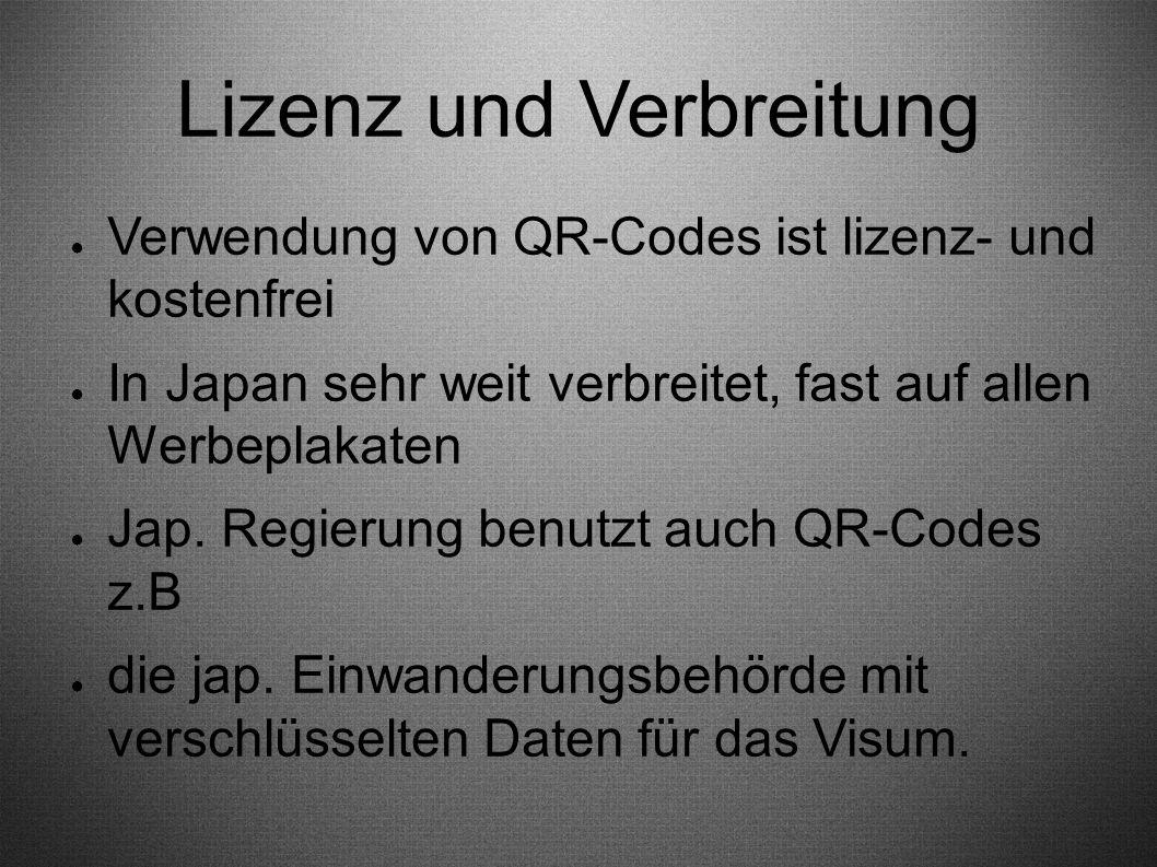 Lizenz und Verbreitung ● Verwendung von QR-Codes ist lizenz- und kostenfrei ● In Japan sehr weit verbreitet, fast auf allen Werbeplakaten ● Jap. Regie
