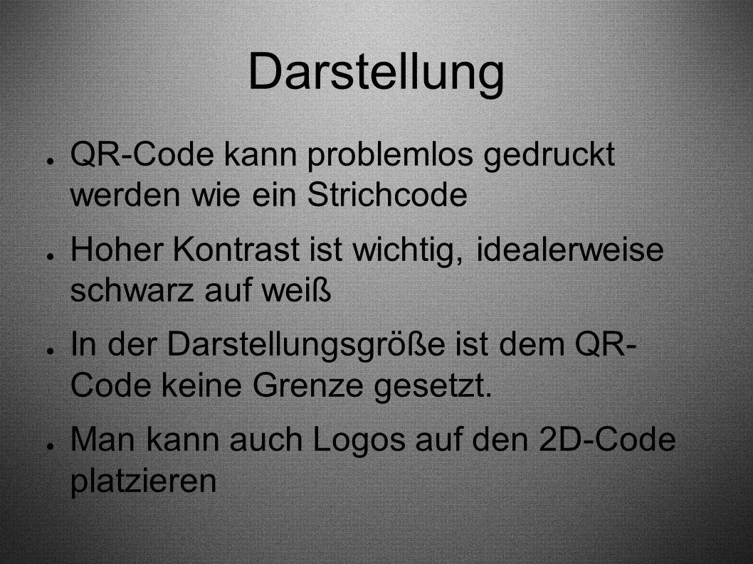 Darstellung ● QR-Code kann problemlos gedruckt werden wie ein Strichcode ● Hoher Kontrast ist wichtig, idealerweise schwarz auf weiß ● In der Darstell