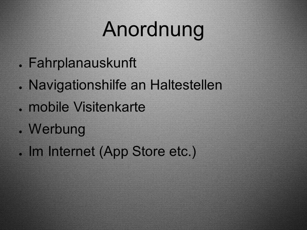 Anordnung ● Fahrplanauskunft ● Navigationshilfe an Haltestellen ● mobile Visitenkarte ● Werbung ● Im Internet (App Store etc.)