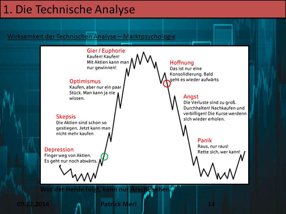 09.12.2014Patrick Merl14 1. Die Technische Analyse Wirksamkeit der Technischen Analyse – Marktpsychologie Wer der Herde folgt, kann nur Ärsche sehen…