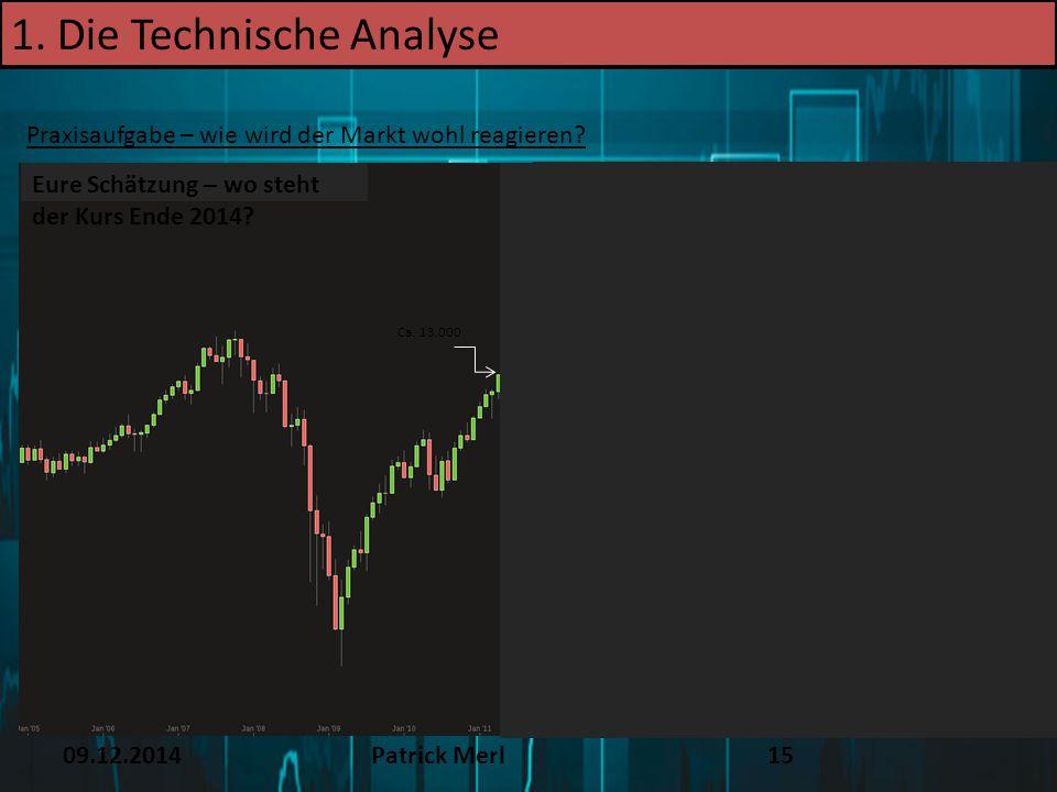 09.12.2014Patrick Merl15 1. Die Technische Analyse Praxisaufgabe – wie wird der Markt wohl reagieren? Eure Schätzung – wo steht der Kurs Ende 2014? Ca