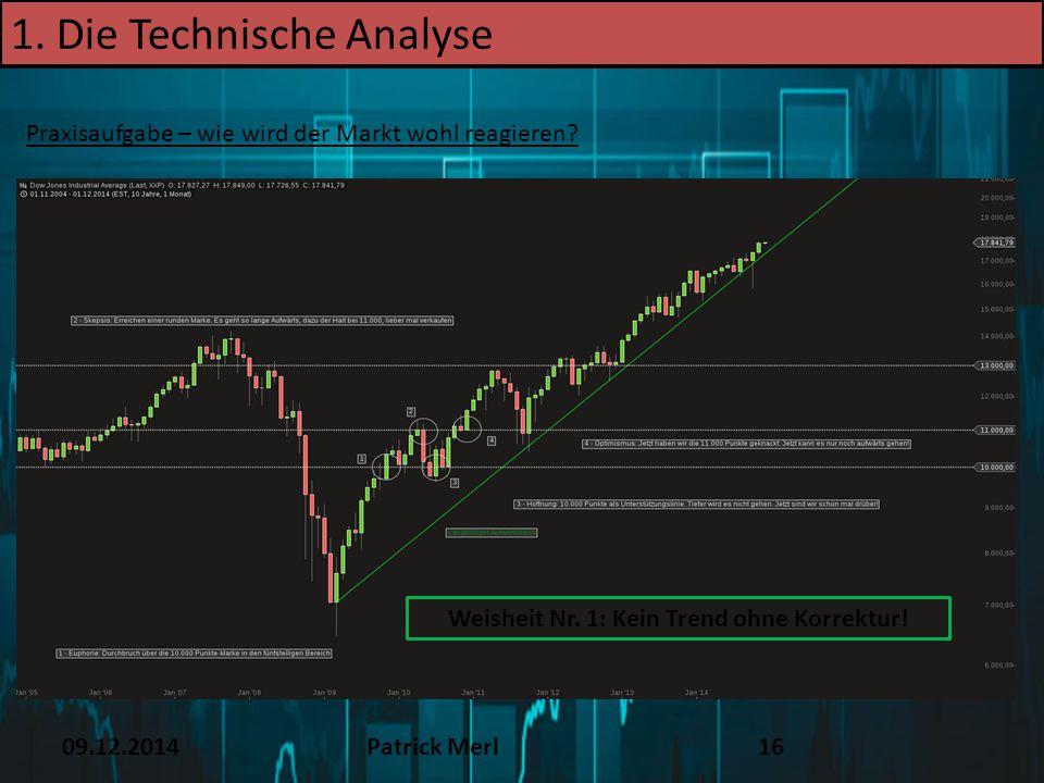 09.12.2014Patrick Merl16 1. Die Technische Analyse Praxisaufgabe – wie wird der Markt wohl reagieren? Weisheit Nr. 1: Kein Trend ohne Korrektur!