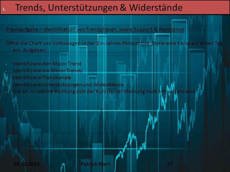 09.12.2014Patrick Merl27 3. Trends, Unterstützungen & Widerstände Praxisaufgabe – Identifikation von Trendphasen, sowie Support & Resistance Öffne die