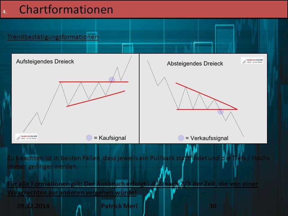 09.12.2014Patrick Merl30 4. Chartformationen Trendbestätigungsformationen Zu beachten ist in beiden Fällen, dass jeweils ein Pullback stattfindet und