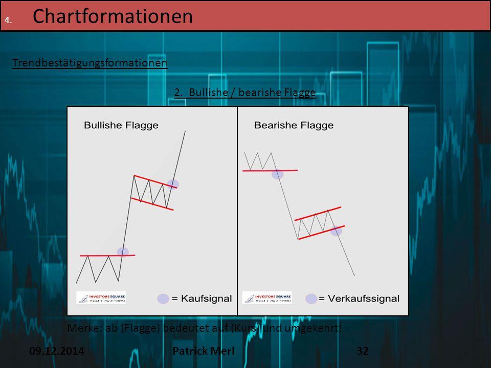 09.12.2014Patrick Merl32 4. Chartformationen Trendbestätigungsformationen 2. Bullishe / bearishe Flagge Merke: ab (Flagge) bedeutet auf (Kurs) und umg