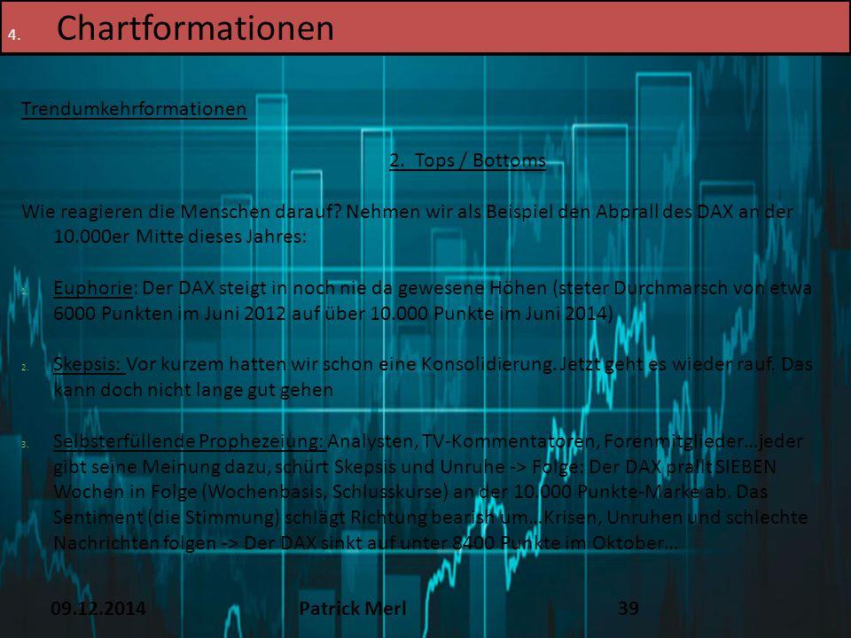 09.12.2014Patrick Merl39 4. Chartformationen Trendumkehrformationen 2. Tops / Bottoms Wie reagieren die Menschen darauf? Nehmen wir als Beispiel den A
