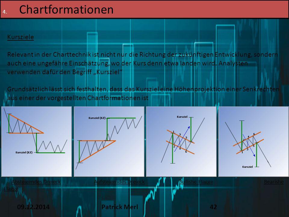 09.12.2014Patrick Merl42 4. Chartformationen Kursziele Relevant in der Charttechnik ist nicht nur die Richtung der zukünftigen Entwicklung, sondern au