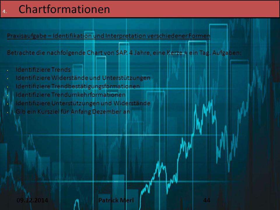 09.12.2014Patrick Merl44 4. Chartformationen Praxisaufgabe – Identifikation und Interpretation verschiedener Formen Betrachte die nachfolgende Chart v