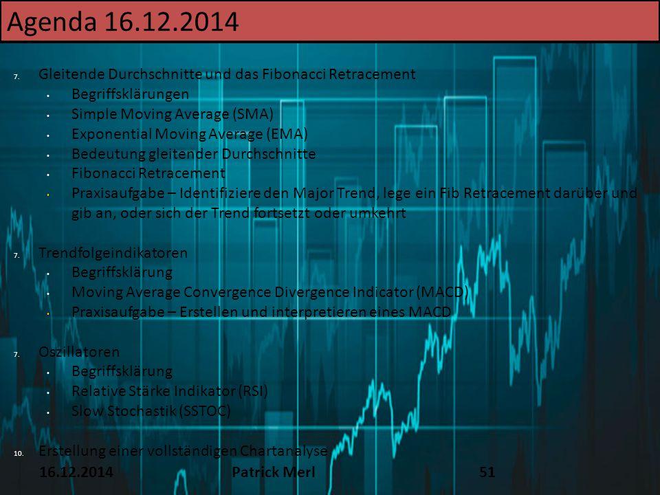 16.12.2014Patrick Merl51 Agenda 16.12.2014 7. Gleitende Durchschnitte und das Fibonacci Retracement Begriffsklärungen Simple Moving Average (SMA) Expo