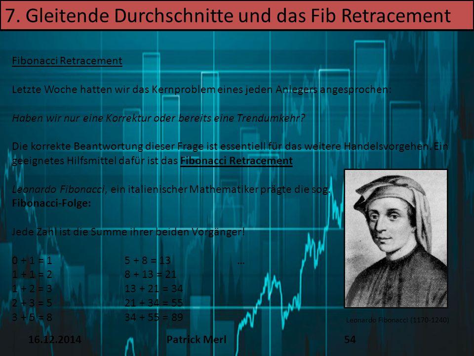 16.12.2014Patrick Merl54 7. Gleitende Durchschnitte und das Fib Retracement Fibonacci Retracement Letzte Woche hatten wir das Kernproblem eines jeden