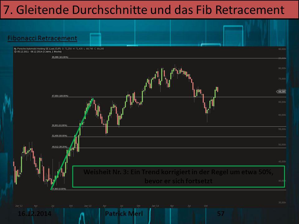 16.12.2014Patrick Merl57 Fibonacci Retracement 7. Gleitende Durchschnitte und das Fib Retracement Weisheit Nr. 3: Ein Trend korrigiert in der Regel um