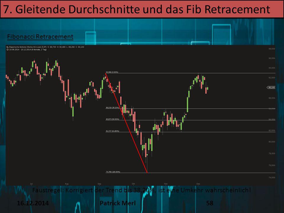 16.12.2014Patrick Merl58 Fibonacci Retracement Faustregel: Korrigiert der Trend bis 38,20%, ist eine Umkehr wahrscheinlich! 7. Gleitende Durchschnitte
