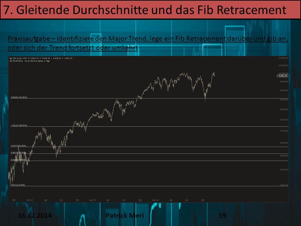 16.12.2014Patrick Merl59 Praxisaufgabe – Identifiziere den Major Trend, lege ein Fib Retracement darüber und gib an, oder sich der Trend fortsetzt ode