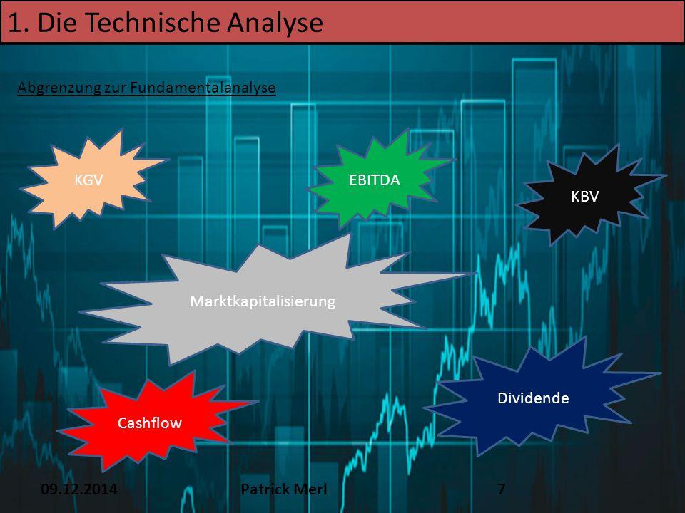09.12.2014Patrick Merl7 1. Die Technische Analyse Abgrenzung zur Fundamentalanalyse KGVEBITDA Cashflow Dividende KBV Marktkapitalisierung