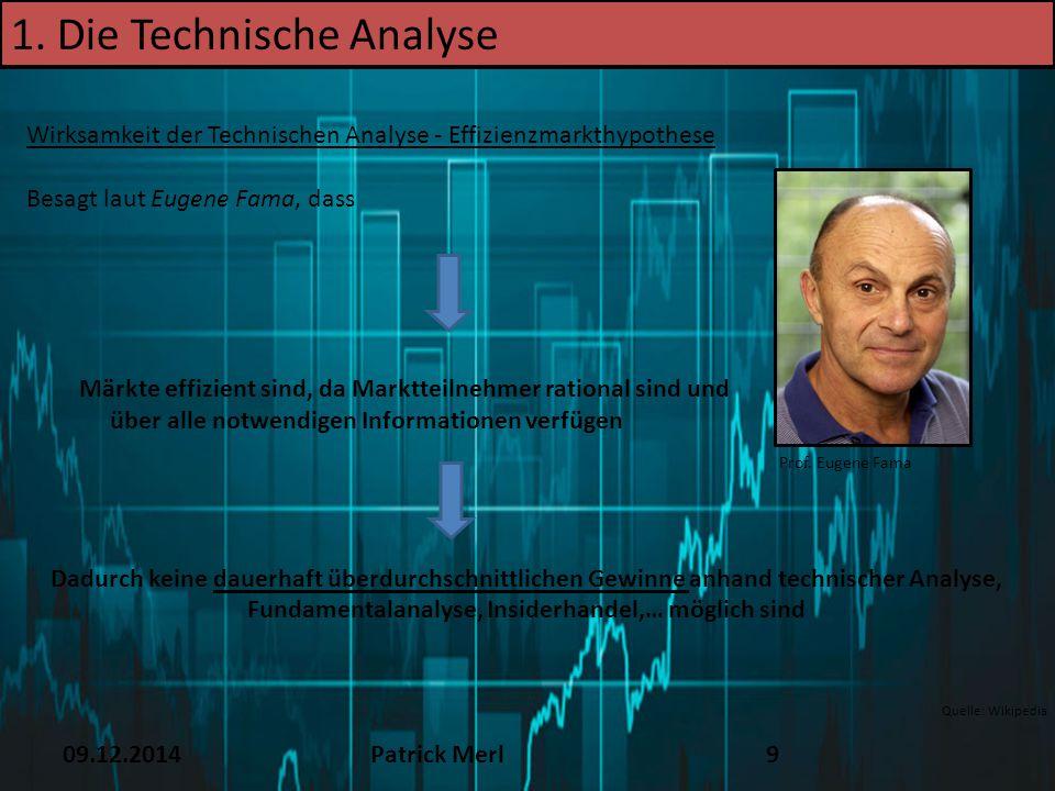 09.12.2014Patrick Merl9 1. Die Technische Analyse Wirksamkeit der Technischen Analyse - Effizienzmarkthypothese Besagt laut Eugene Fama, dass Märkte e