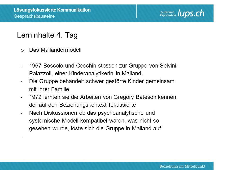 Gesprächsbausteine Lösungsfokussierte Kommunikation o Das Mailändermodell -1967 Boscolo und Cecchin stossen zur Gruppe von Selvini- Palazzoli, einer K