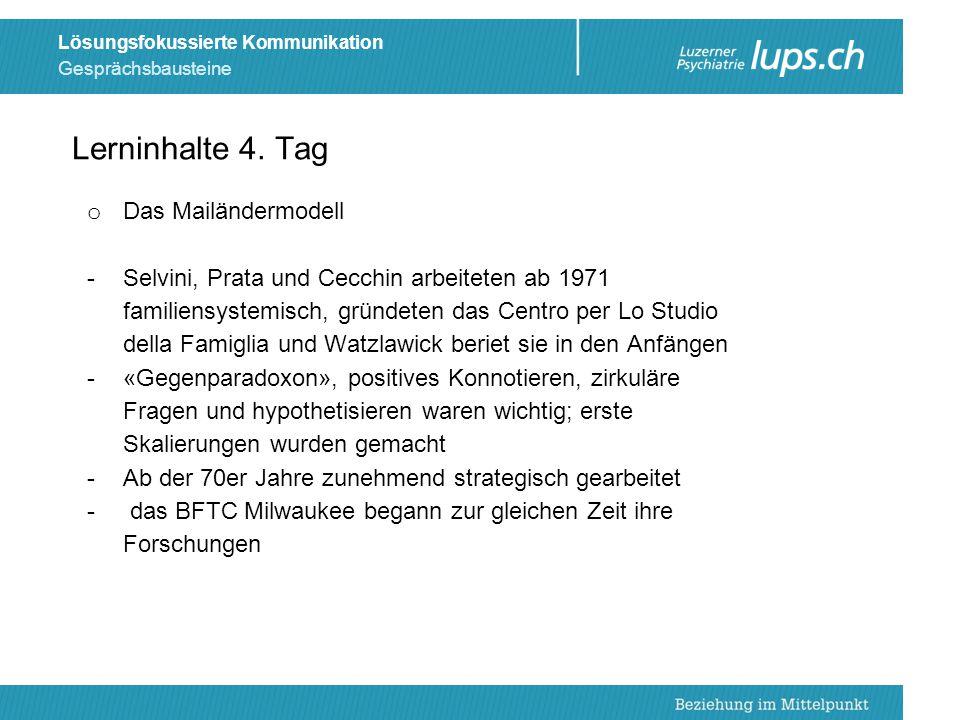 Gesprächsbausteine Lösungsfokussierte Kommunikation o Das Mailändermodell -Selvini, Prata und Cecchin arbeiteten ab 1971 familiensystemisch, gründeten