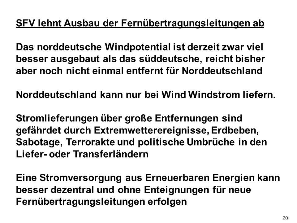 20 SFV lehnt Ausbau der Fernübertragungsleitungen ab Das norddeutsche Windpotential ist derzeit zwar viel besser ausgebaut als das süddeutsche, reicht bisher aber noch nicht einmal entfernt für Norddeutschland Norddeutschland kann nur bei Wind Windstrom liefern.