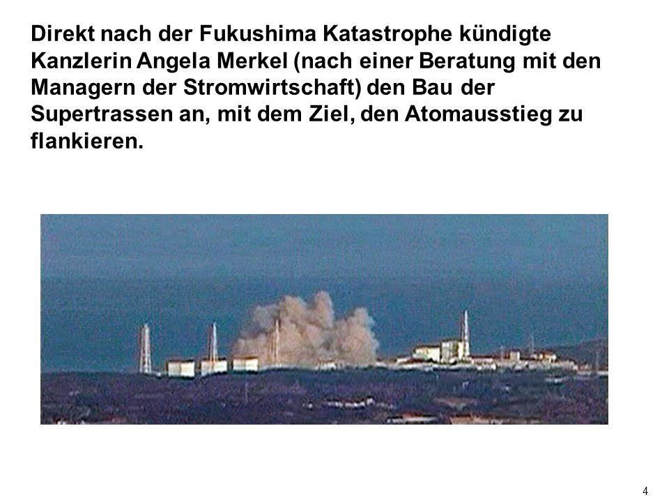 4 Direkt nach der Fukushima Katastrophe kündigte Kanzlerin Angela Merkel (nach einer Beratung mit den Managern der Stromwirtschaft) den Bau der Supertrassen an, mit dem Ziel, den Atomausstieg zu flankieren.