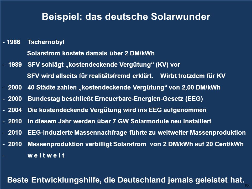 """83 Beispiel: das deutsche Solarwunder - 1986 Tschernobyl Solarstrom kostete damals über 2 DM/kWh - 1989 SFV schlägt """"kostendeckende Vergütung (KV) vor SFV wird allseits für realitätsfremd erklärt."""