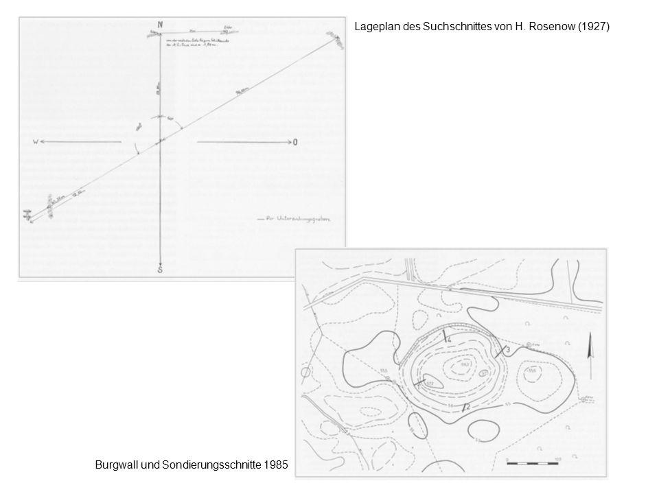 Lageplan des Suchschnittes von H. Rosenow (1927) Burgwall und Sondierungsschnitte 1985