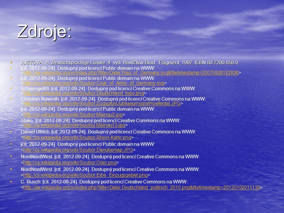 Zdroje: JUSTOVÁ, H. Deutschsprachige Länder. 4. vyd. Havlíčkův Brod : Fragment, 1997. ISBN 80-7200-050-0. JUSTOVÁ, H. Deutschsprachige Länder. 4. vyd.
