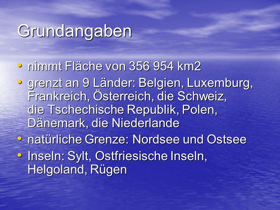 Oberfläche das Norddeutsche Tiefland (Heiden, Moore, Schweriner und Plauer See) das Norddeutsche Tiefland (Heiden, Moore, Schweriner und Plauer See) das Deutsche Mittelgebirge (Schwarzwald, Fichtelgebirge, Bayrischer Wald) das Deutsche Mittelgebirge (Schwarzwald, Fichtelgebirge, Bayrischer Wald) das Alpenvorland (zwischen der Donau und den Alpen, viele Seen – Bodensee, Inseln: Mainau, Lindau, Reichenau) das Alpenvorland (zwischen der Donau und den Alpen, viele Seen – Bodensee, Inseln: Mainau, Lindau, Reichenau) die Alpen (Zugspitze – 2 963 m) die Alpen (Zugspitze – 2 963 m)