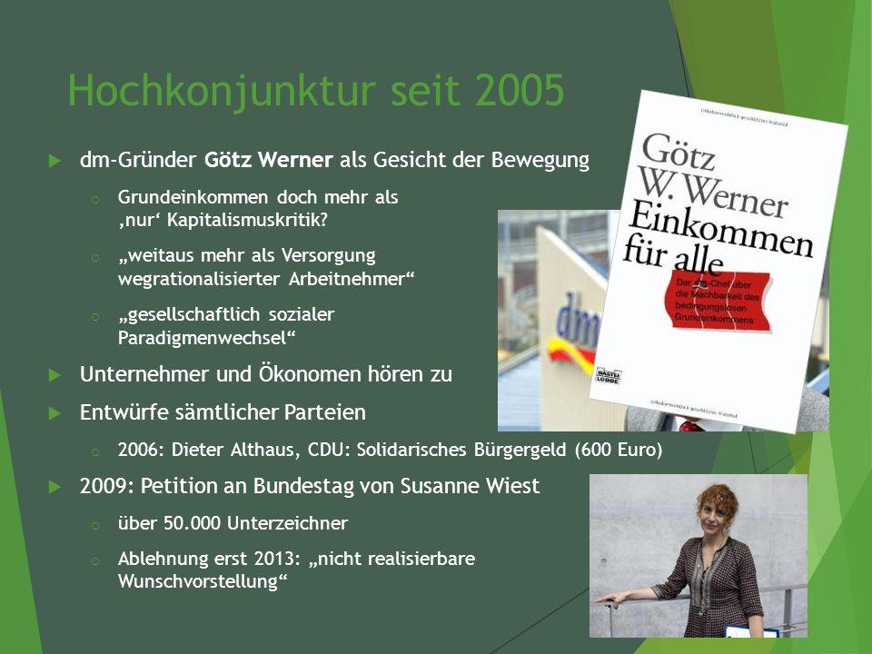 Hochkonjunktur seit 2005  dm-Gründer Götz Werner als Gesicht der Bewegung o Grundeinkommen doch mehr als 'nur' Kapitalismuskritik.