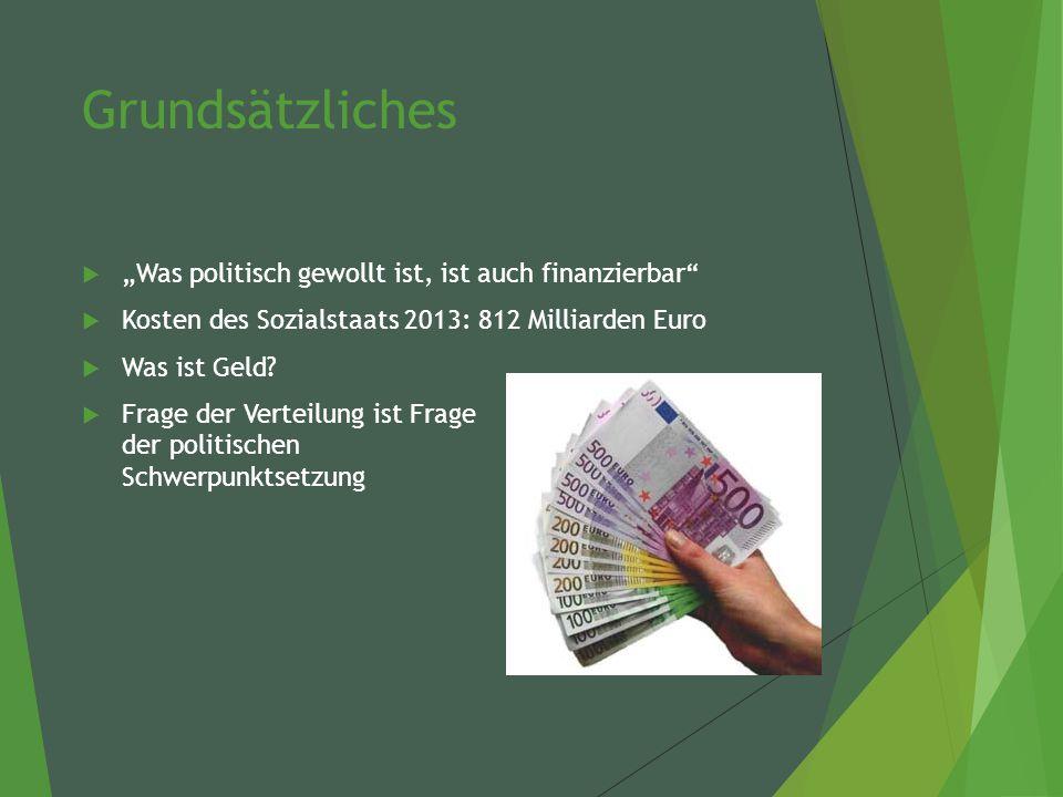 """Grundsätzliches  """"Was politisch gewollt ist, ist auch finanzierbar  Kosten des Sozialstaats 2013: 812 Milliarden Euro  Was ist Geld."""
