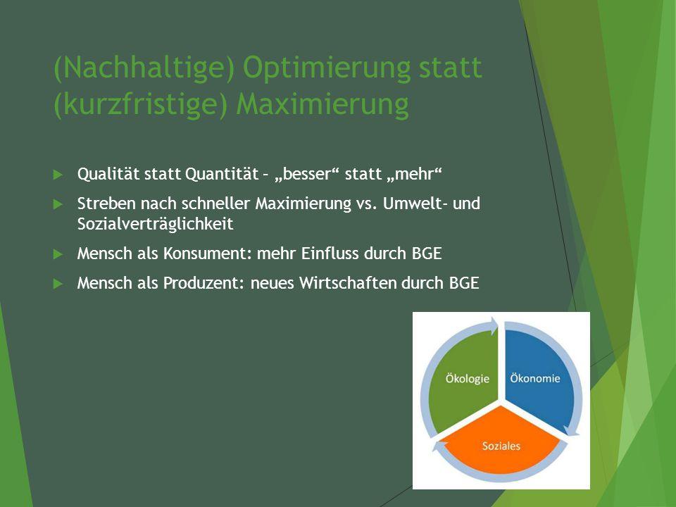 """(Nachhaltige) Optimierung statt (kurzfristige) Maximierung  Qualität statt Quantität – """"besser statt """"mehr  Streben nach schneller Maximierung vs."""