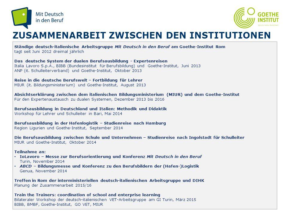 Seite 11 ZUSAMMENARBEIT ZWISCHEN DEN INSTITUTIONEN Ständige deutsch-italienische Arbeitsgruppe Mit Deutsch in den Beruf am Goethe-Institut Rom tagt se