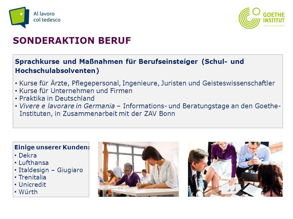 Seite 14 SONDERAKTION BERUF Sprachkurse und Maßnahmen für Berufseinsteiger (Schul- und Hochschulabsolventen) Kurse für Ärzte, Pflegepersonal, Ingenieu