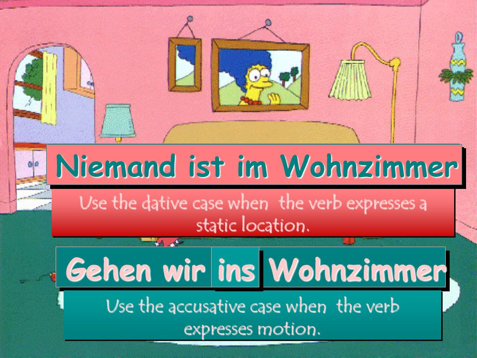 Niemand ist im Wohnzimmer Use the dative case when the verb expresses a static location.