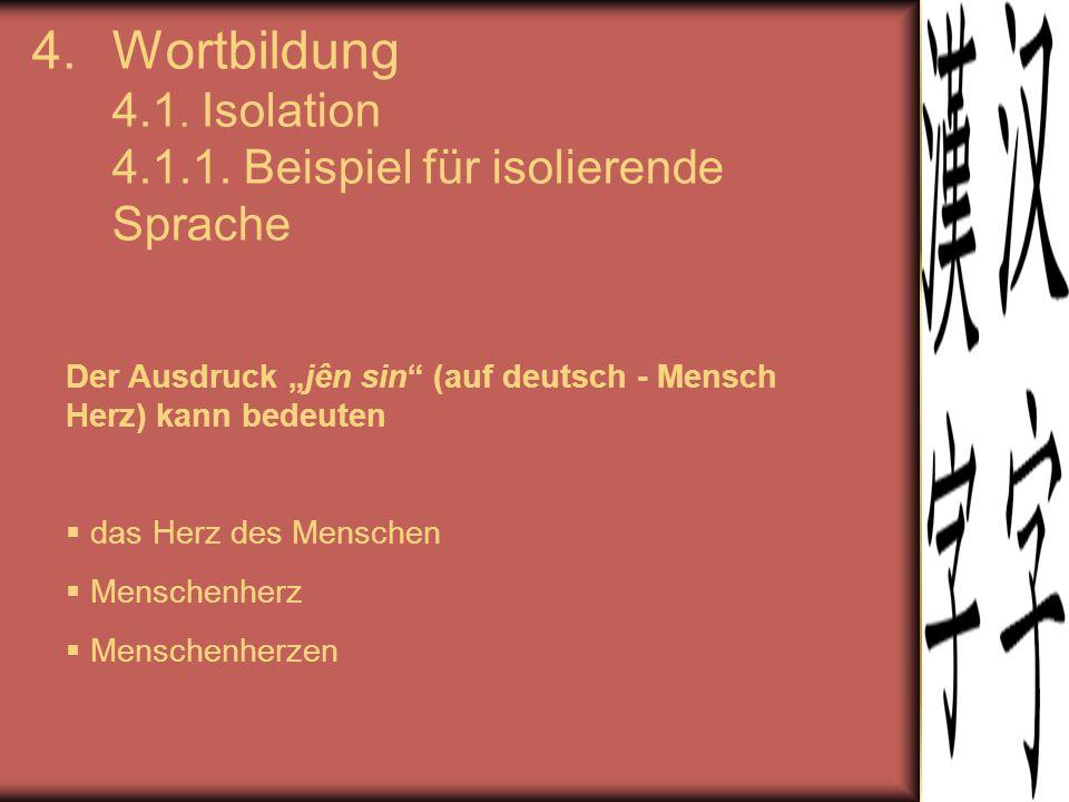 """4.Wortbildung 4.1. Isolation 4.1.1. Beispiel für isolierende Sprache Der Ausdruck """"jên sin"""" (auf deutsch - Mensch Herz) kann bedeuten  das Herz des M"""