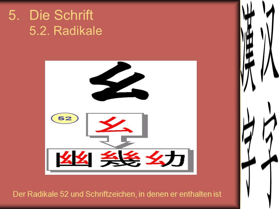 5.Die Schrift 5.2. Radikale Der Radikale 52 und Schriftzeichen, in denen er enthalten ist